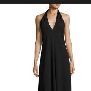 NWT Theory V-Neck Halter Midi Dress, Black size 4